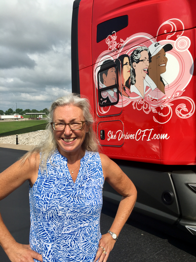 "Stephanie Klang is one of the veteran CFI women truck drivers portrayed on the new ""She Drives CFI"" truck.  - Photo courtesy CFI"
