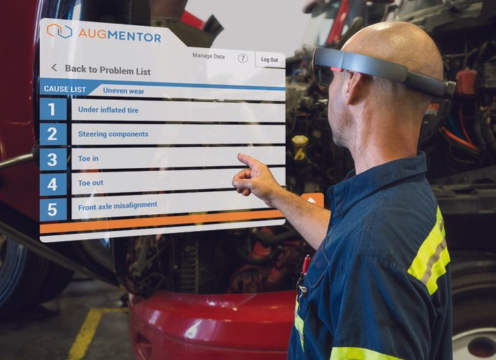 Augmented reality technology can be used to help technicians learn and maybe even diagnose and repair trucks.  - Image courtesy Design Interactive