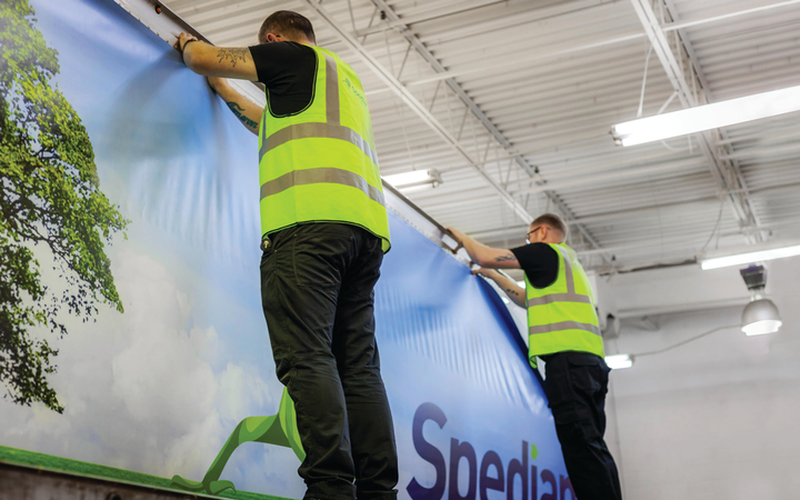 Installation times for the Spedian Changeable Graphics System require a two-person crew and typically take from 30 to 45 minutes.