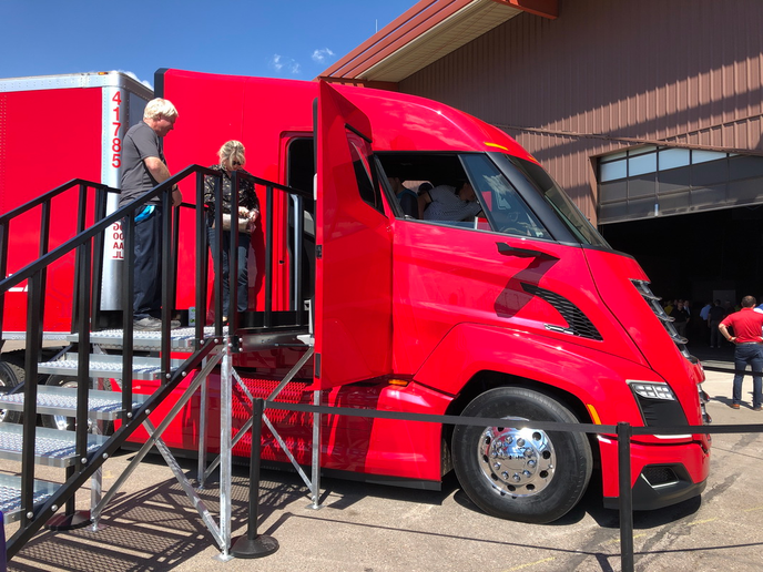 The Nikola Two's doors are located behind the seat. A set of steps auto-deploys when the driver approaches the truck and retracts once he or she is on board.