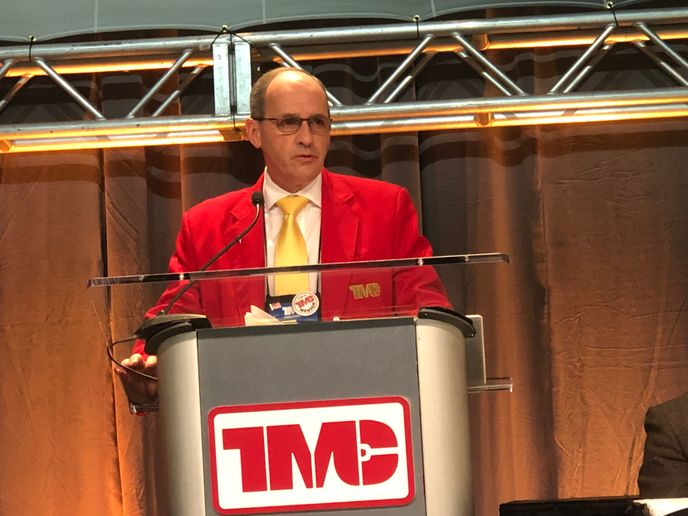 Kenneth Calhoun speaks to TMC members during the annual meeting in Atlanta.