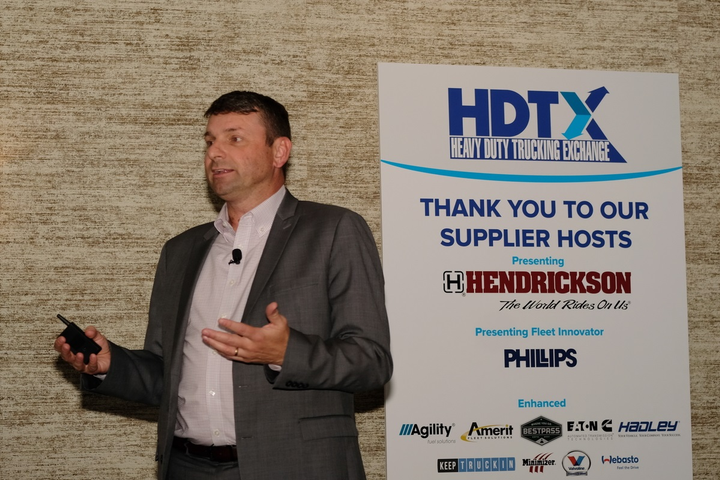 Trucking shouldnt waste time on pipe-dreams like platooning and autonomous trucks and instead focus on improving logistics and making the trade appeal to young people, said Hendrickson's Jeff Sass while speaking at the Heavy Duty Trucking Exchange in Phoenix.  - Photo: Jim Park