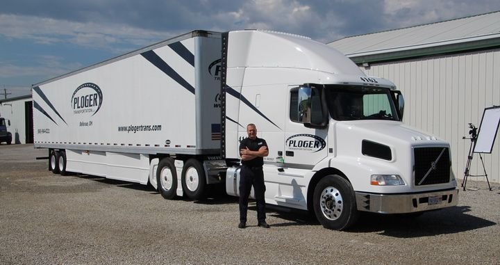 Joel Morrow, with Ploger Transportation, managed 9 mpg during the Run on Less fuel efficiency challenge — despite being stuck with a trailer that wasn't up to his usual aerodynamic standards.  - Photo: Schaller LLC