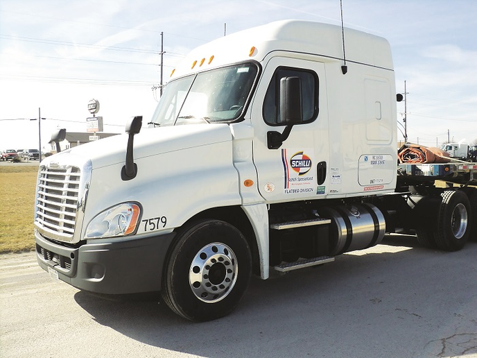 The Schilli fleet fields 365 power units and 750 trailers. Trailer types run from dry vans to highly specialized units, including flatbeds spec'ed to be lightweight to boost payload capacity, van trailers equipped with cranes, and dump trailers. Photo: Schilli