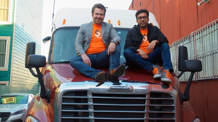 Stefan Seltz Axmacher (L), seen with Starsky Robotics co-founder Kartik Tiwari, says he doesn't want to simply develop autonomous trucks -- he wants to reinvent how trucking operates.