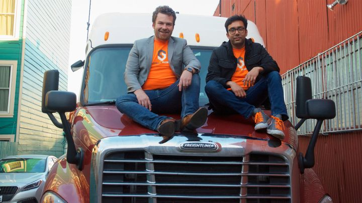 CEO Stefan Seltzer-Axmacher (L) seen here with Starsky Robotics co-founder Kartik Tiwari, wants to remake the trucking industry from top to bottom.