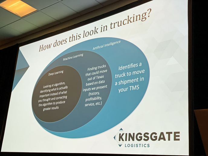 Matching trucks and loads is a major way artificial intelligence can be used in transportation and logistics.
