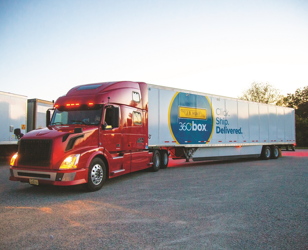 J.B. Hunt Transport Services' digital freight-matching platform, Carrier 360, also features a recently announced trailer pool and drop-and-hook service called 360Box.  - Photo: J.B. Hunt