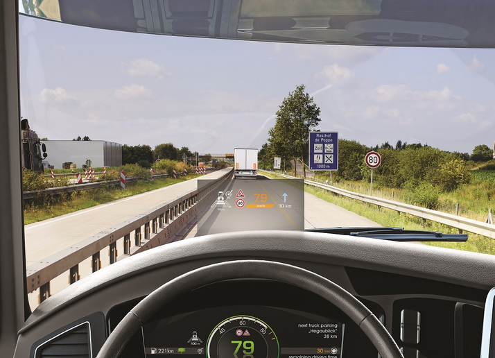 The interface between the truck cab and the driver is changing to integrate both driver-specific information and data from the truck and the world outside, with global developers showing high-tech displays like this one from Continental.