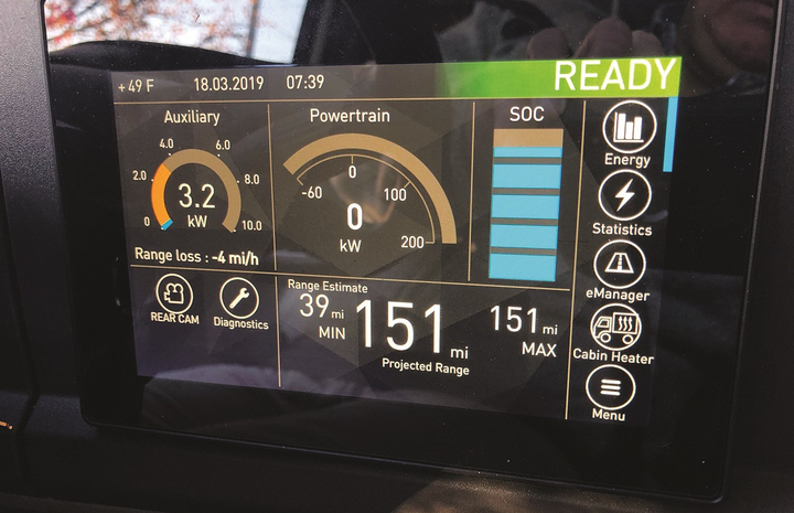 Engineers at Hyliion, whose mild-hybrid assist system display is seen here, are also involved in the development of personalized display systems that use a Bluetooth app to sync a driver's preferences to a vehicle.