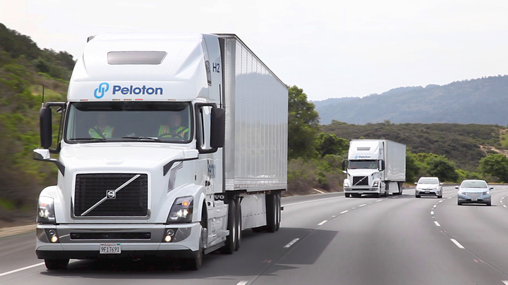 Daimler has pulled out of platooning development but companies like Peloton still believe the technology's potential benefits.  - Photo via Peloton