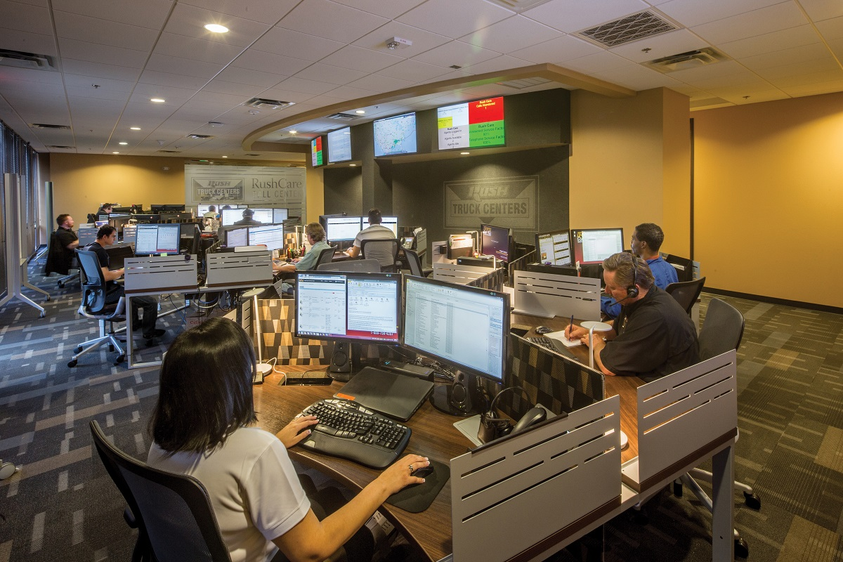 Rush Truck Center's modern call center uses a host of products, services, systems and dealerships all over the country to troubleshoot problems on the road.  - Photo: Rush Truck Center