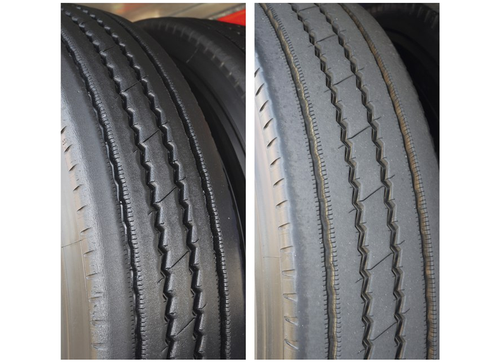 These two images show tire wear typical to a spread-axle trailer. The tire on the right is on the forward axle and shows rounded edges and scuffing on the shoulders. Compare that to the square-edged shoulders and ribs of the tire on the rear axle (left).  