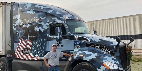 Mark Buckley is a Navy veteran driving a special military-themed truck for USA Truck Capacity...