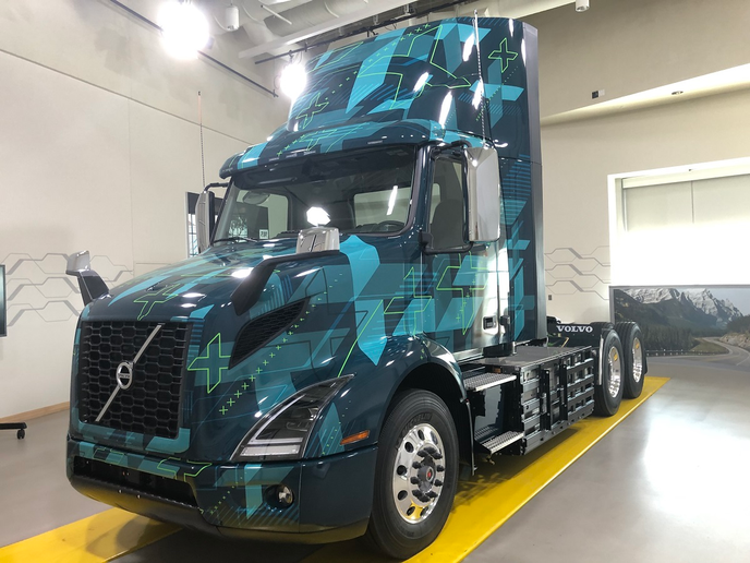 The new Volvo electric VNR on display at the company's Customer Center in Dublin, Virginia, is slated to begin serial production next year.