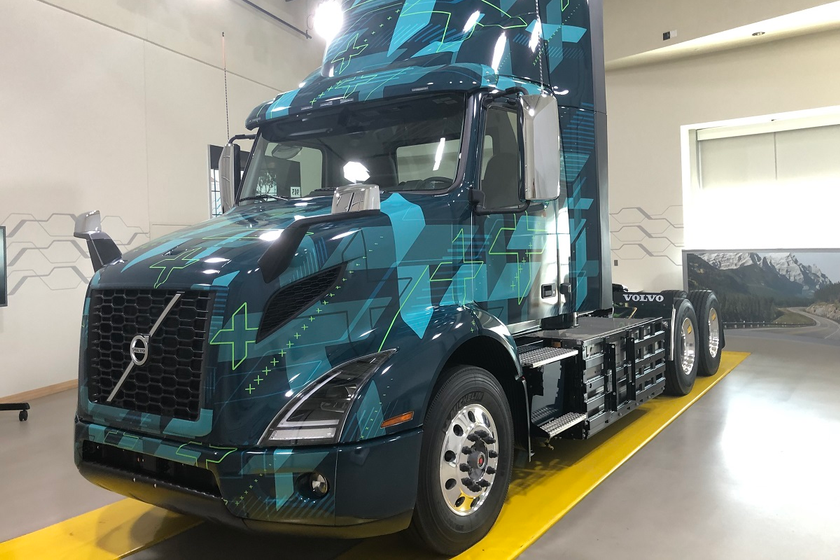 The new Volvo electric VNR on display at the company's Customer Center in Dublin, Virginia, is...