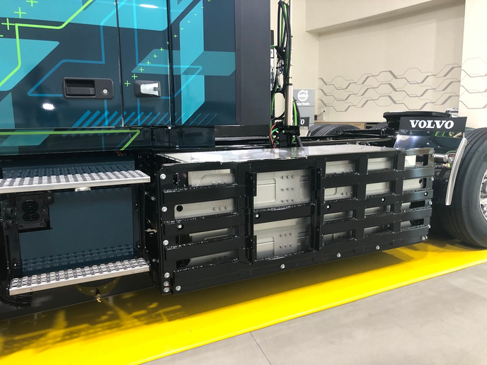 The most notable difference on the all-electric Volvo VNR are the massive battery packs on the frame rails ahead of the drive tires.  -