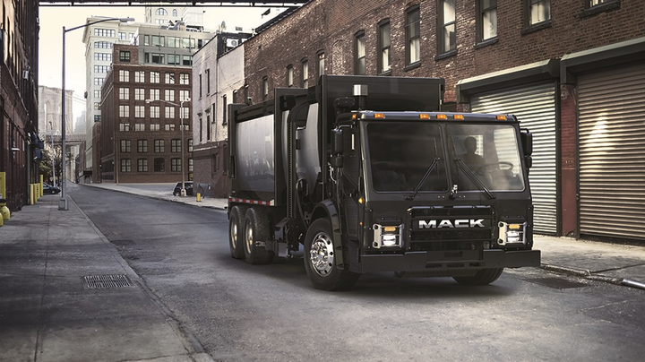 Mack has plans to deploy an electric LR model in New York City by 2019.  - Photo courtesy Mack Trucks
