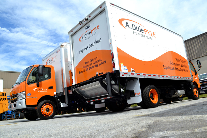 The two new electric trucks join A. Duie Pyle's fleet of Express Solutions medium-duty trucks spec'ed for last-mile delivery.