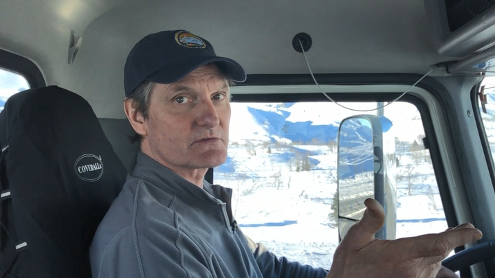Plow driver Mark Hanson has worked at the Thompson Pass DOT station near Valdez, Alaska for 22 years. He says the Richardson Highway has to kept open even in the worst weather, and the differential GPS makes that possible. 
