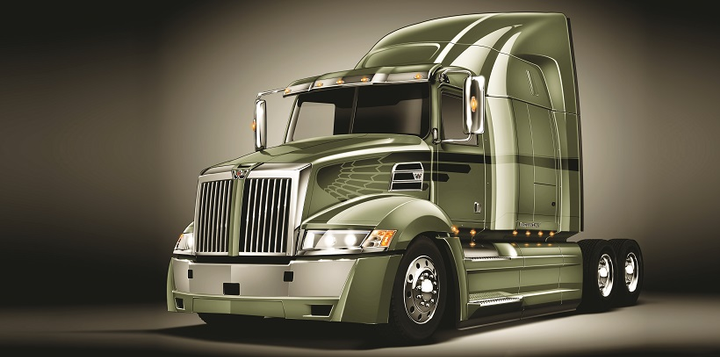 The standard integrated powertrain for the Western Star 5700XE consists of the Detroit DD15 14.8L engine, rated 400 hp at 1750 lb-ft (downsped), mated to the Detroit DT12 automated manual transmission.