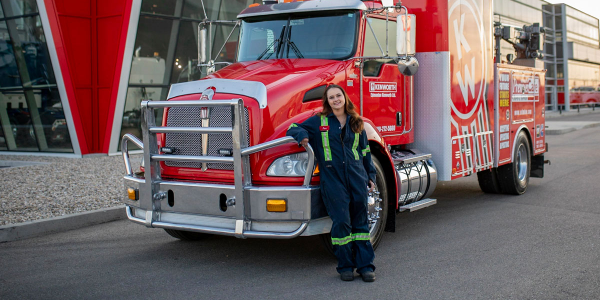 Jennifer Lesnik drives a service truck equipped with all the tools she needs to diagnose and fix...