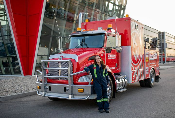 Jennifer Lesnik drives a service truck equipped with all the tools she needs to diagnose and fix a majority of the mechanical issues trucks may have on the spot. 