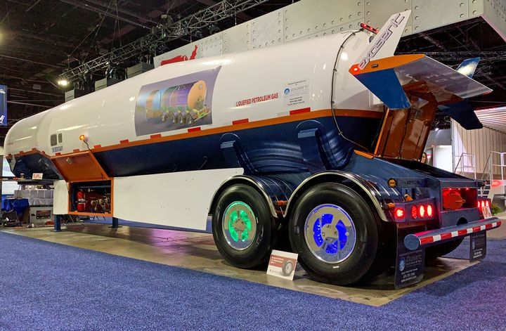 This unusual LPG trailer from Exosent Engineering caught our eye at NACV.  - Photo: Deborah Lockridge