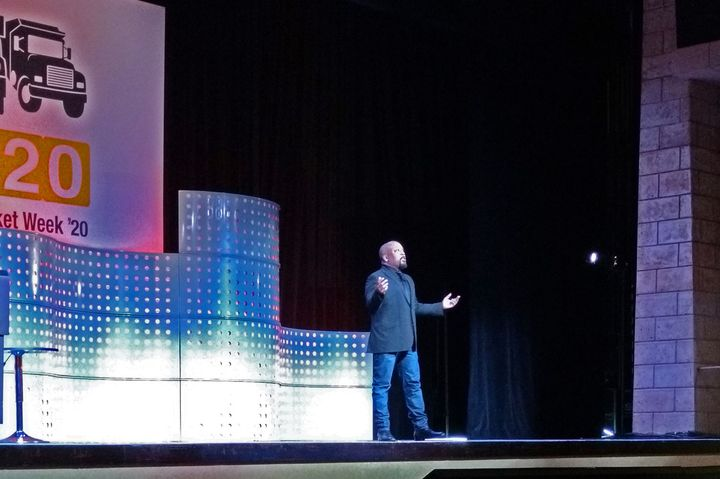Daymond John, founder and CEO of FUBU and star of Shark Tank, gave a keynote presentation during Heavy Duty Aftermarket Week.