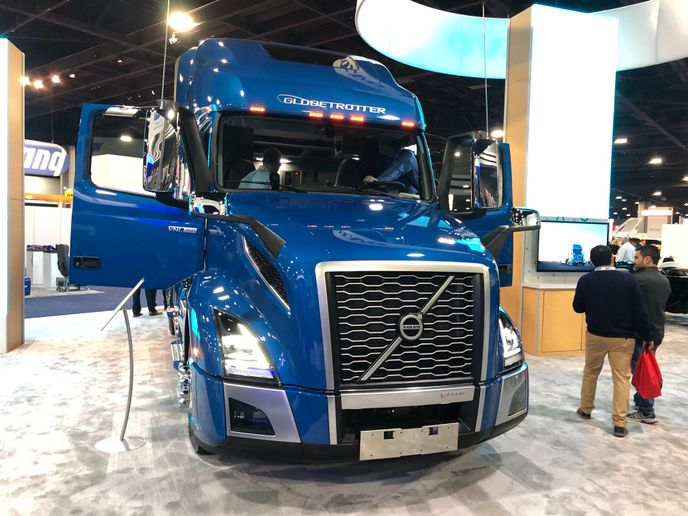 According to Volvo Product Marketing Manager, Allison Athey, this VNL Globetrotter on display on the 2020 TMC Annual Meeting show floor is as connected as it is possible for a truck to be today. - Photo: Jack Roberts