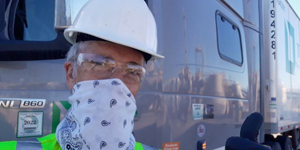 Before cloth masks were widely available, truckers like this one from Roadmaster made do with...