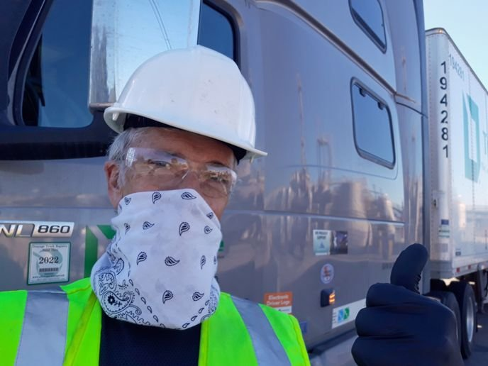 Before cloth masks were widely available, truckers like this one from Roadmaster made do with what was at hand.