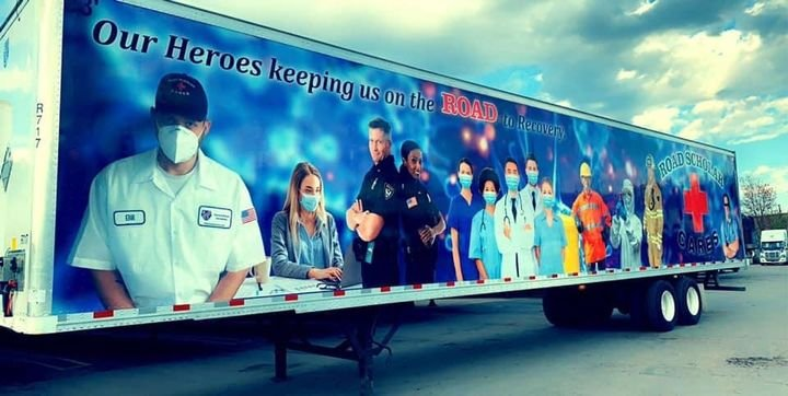 Road Scholar's latest trailer wrap recognizes the everyday heroes of the pandemic - including truck drivers.