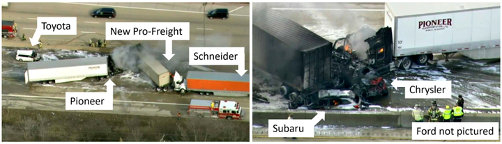 Scene views of six of the vehicles at final rest on eastbound I-290 after a March 1, 2018, crash in Elmhurst, Illinois. - Photo: NTSB