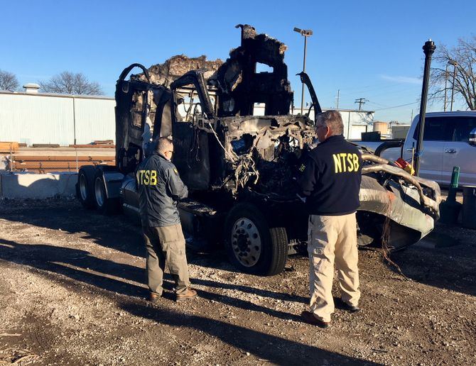 The NTSB determined that this Elmhurst, Illinois, crash was the Pioneer Transportation driver's failure to respond to slow-moving traffic due to a performance decrement likely caused by fatigue associated with his untreated sleep disorder. - Photo: NTSB