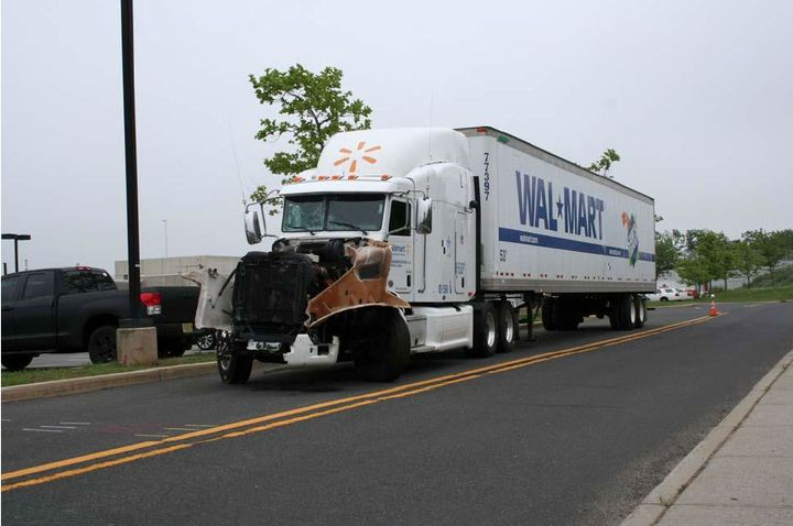 When a Walmart truck driver approached the work zone in Cranbury, New Jersey, close to 1 a.m. on June 7, 2014, he had only gotten about four hours of sleep opportunity in the preceding 33 hours. - Photo: NTSB