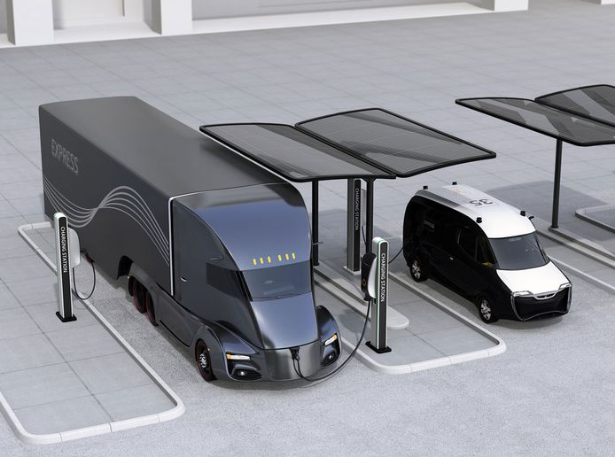 Fleet operators don't want to buy zero-emission trucks unless they already have the means to charge them, but to build out the charging requires a decision about what kind of vehicle is best. - Illustration: Black & Veatch