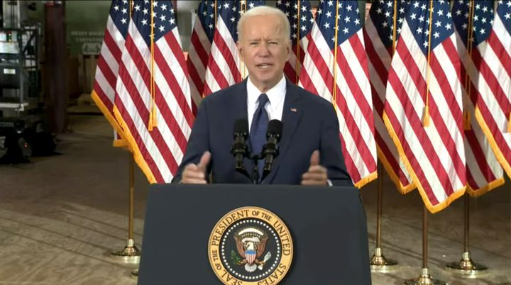 President Joe Biden unveiled his ambitious American Jobs Plan on March 31. The core of it is infrastructure, but Republicans say too much of it is not and want a bill more restricted to traditional definitions of infrastructure. - Screen capture