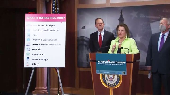 Sen. Shelley Moore Capito, ranking member of the Senate Environment and Public Works Committee, leads the press conference to announce the Senate Republicans' infrastructure proposal. - Press conference screen capture