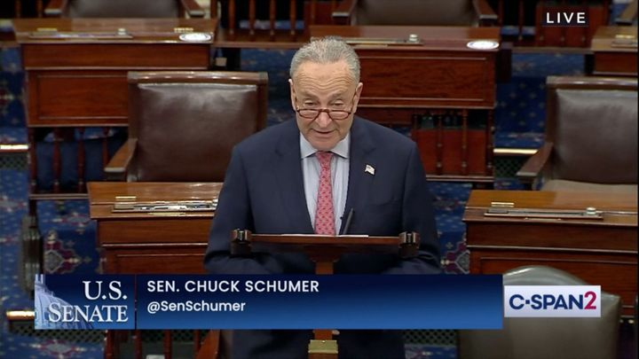 """""""Discussions about infrastructure are moving forward along two tracks... the truth is both tracks are moving forward very well and both tracks need each other,"""" said Senate Majority Leader Chuck Schumer, D-N.Y., on the Senate floor June 17. - Photo: C-Span screen capture"""