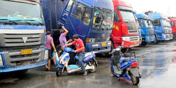 Truck parking is a problem facing drivers around the world. Here, a truckstop outside Shanghai.