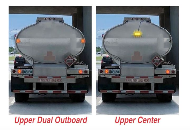 Peterson's auxiliary strobe lighting designed for tank trailers under the Tank Truck Carriers Association exemption. - Photo: Peterson Manufacturing