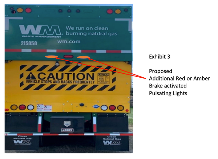 Waste Management wants to add pulsing lights to its trucks. - Photo: From Waste Management FMCSA petition