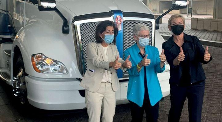 Commerce Secretary Gina Raimondo, National Climate Advisor Gina McCarthy, and Energy Secretary Jennifer Granholm. - Photo: Kenworth