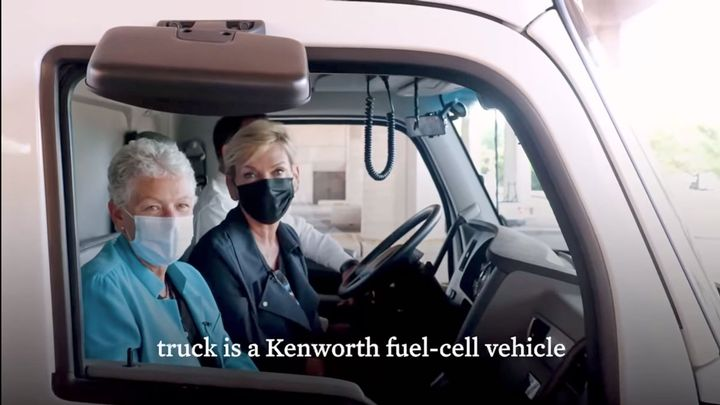 Energy Secretary Jennifer Granholm and National Climate Advisor Gina McCarthy filmed a White House Weekly Conversation video in the cab of a Kenworth fuel-cell electric truck. - Photo: Screen capture, White House video
