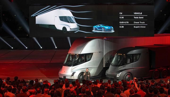 Flashback to 2017 and Elon Musk unveiling the Tesla Semi. What's taking so long? - HDT File Photo