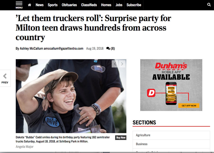 "Screen shot of newspaper coverage of ""Bubba"" Cadd's surprise birthday party featuring dozens of tractor-trailer trucks.  -"