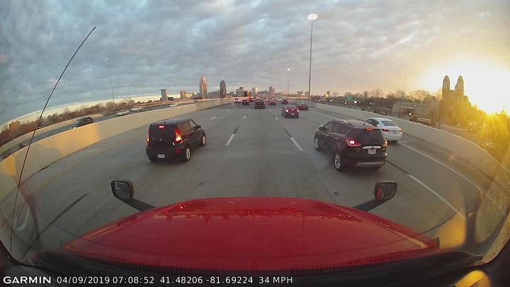 A view from Jeff Barker's dash cam – sans GPS.