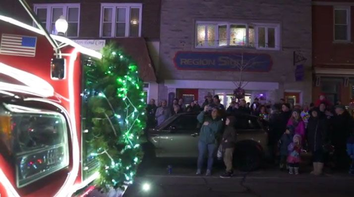 The Ozinga Merry Mixer in an illuminated Christmas parade.  - Photo via Ozinga YouTube video