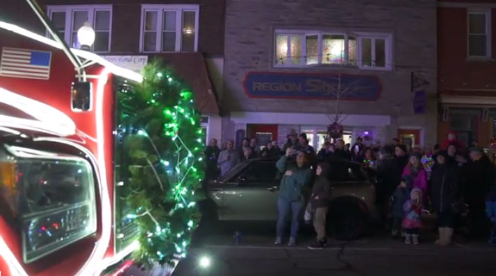 The Ozinga Merry Mixer in an illuminated Christmas parade.  - Photo via Ozinga YouTube video